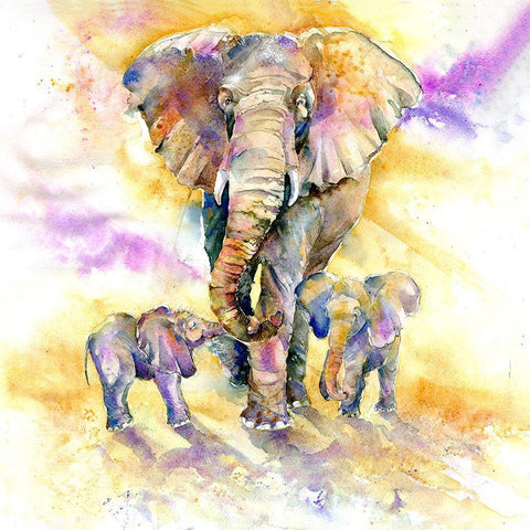 Elephant Family Original  Watercolour