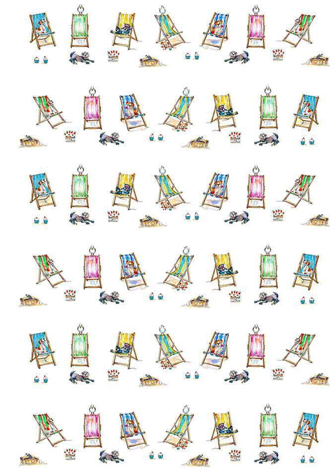 Dogs on Deck Chairs Gift Wrap