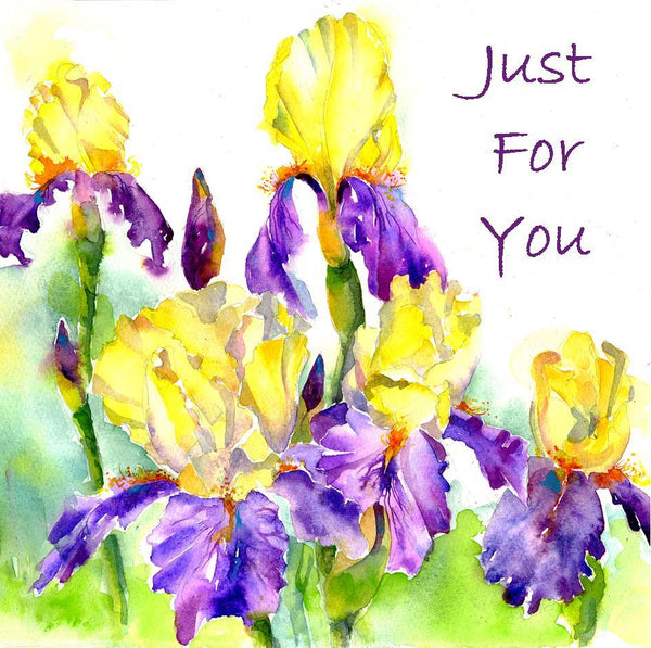 Bearded Iris Flower Card-Sheila Gill Fine Art