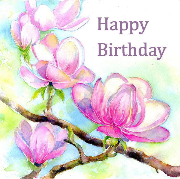 Magnolia Flower Happy Birthday Card-Sheila Gill Fine Art