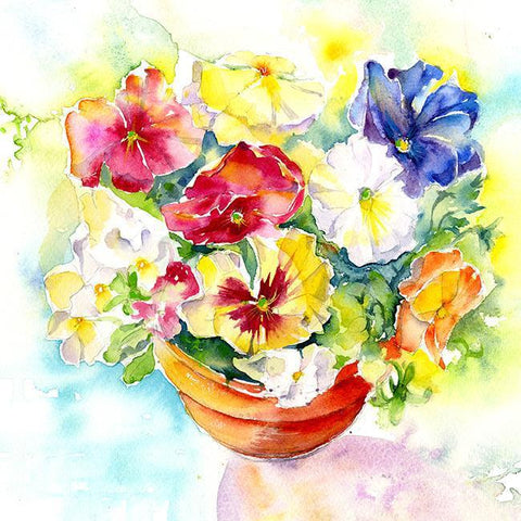 Pansies Flower Card-Sheila Gill Fine Art