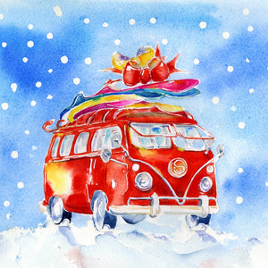 Santa's Camper Van  Christmas Card Pack