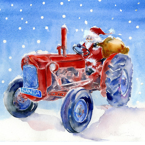 Santa's Tractor Christmas Card Pack