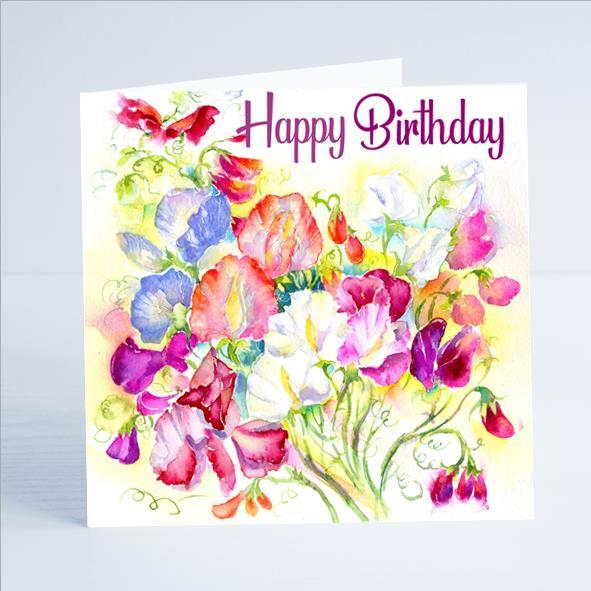 Happy Birthday Sweet Peas Flower Card