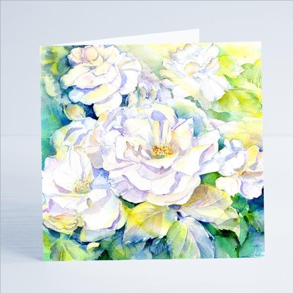 Vintage White Roses Flower Card