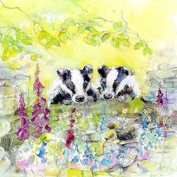 Badgers Card-Sheila Gill Fine Art