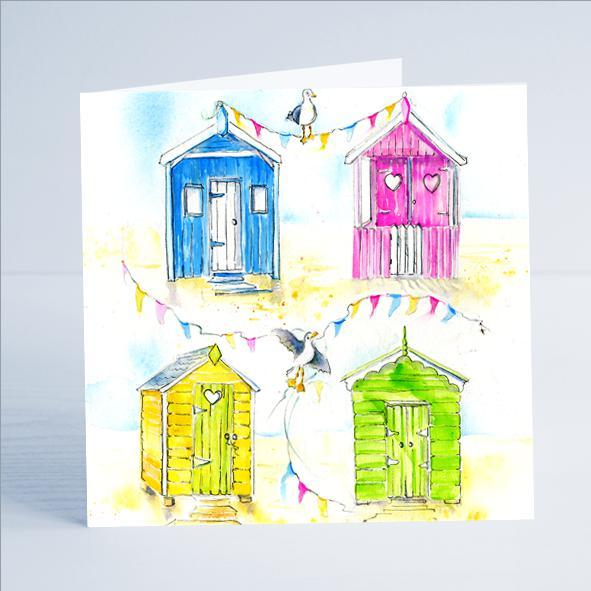 Beach Huts - Card-Sheila Gill Fine Art