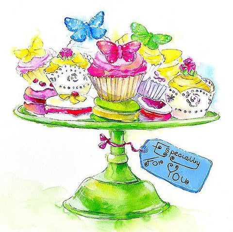 Butterfly Cakes - Card-Sheila Gill Fine Art