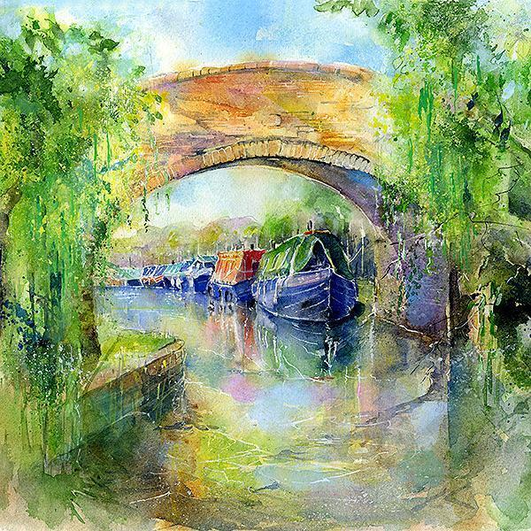 Canal Narrow Boats Card-Sheila Gill Fine Art