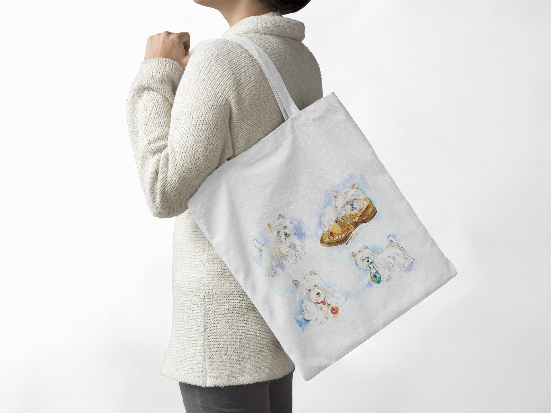 Dog -  White Scottie - Tote Bag