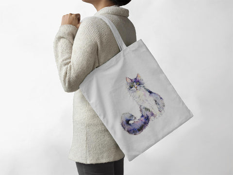 Cat - Black and White - Tote Bag