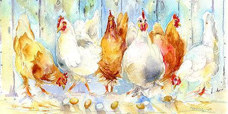 Chickens Card-Sheila Gill Fine Art