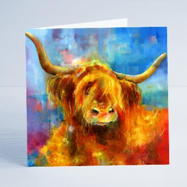 Highland Cow Card.-Sheila Gill Fine Art