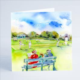 Cricket Match - Card-Sheila Gill Fine Art
