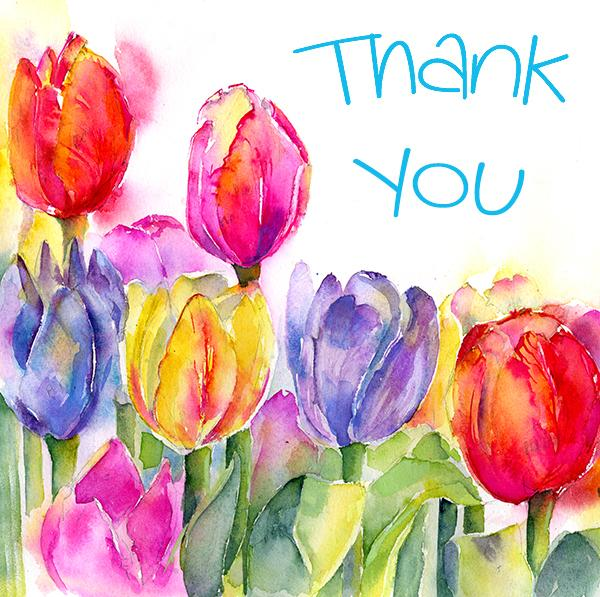 Tulips Thank You Notelet Card Pack