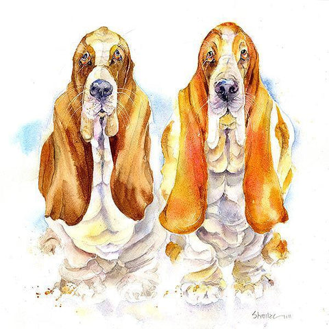Basset Hounds Dog Card.-Sheila Gill Fine Art