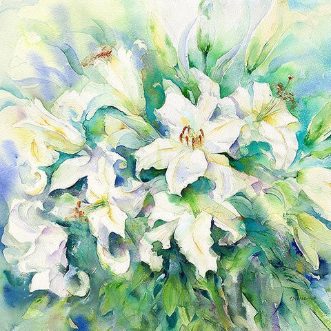 Easter Lilies Flower Card-Sheila Gill Fine Art