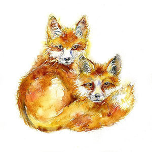 Foxes Card-Sheila Gill Fine Art