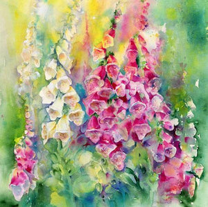 Foxgloves Flower Card-Sheila Gill Fine Art