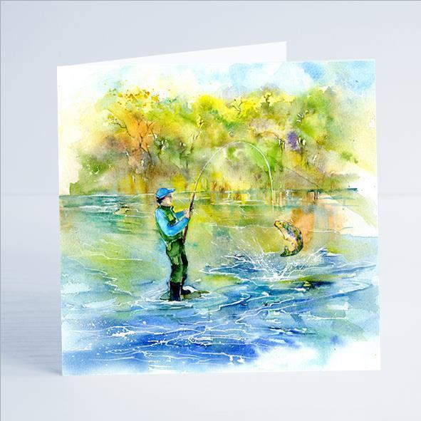 Gone Fishing - Card-Sheila Gill Fine Art