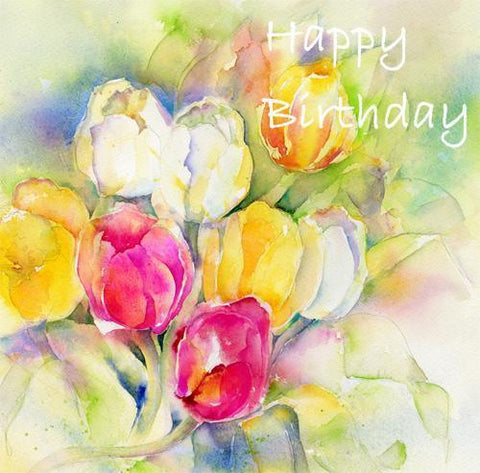 Happy Birthday Tulips Flower Card