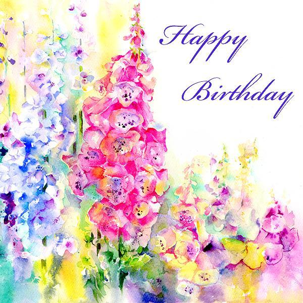 Happy Birthday, Flower - Card-Sheila Gill Fine Art
