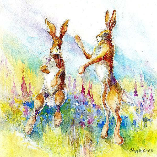 Hares In The Meadow - Card-Sheila Gill Fine Art