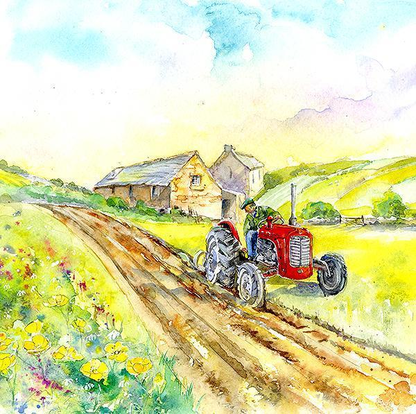 Harvest Time Tractor Card-Sheila Gill Fine Art