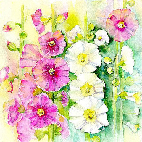 Hollyhocks Flower Card-Sheila Gill Fine Art