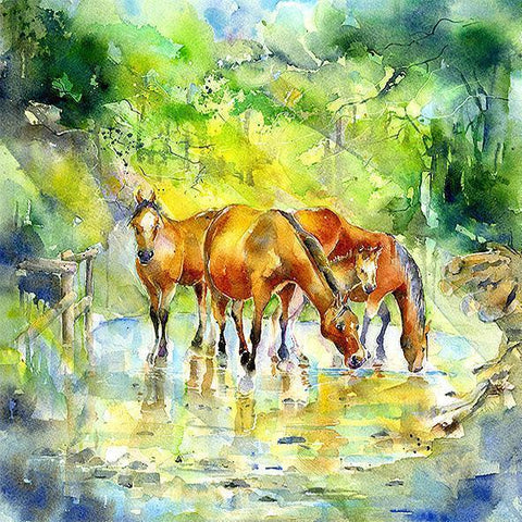 Horse - Forest Ponies - Card-Sheila Gill Fine Art