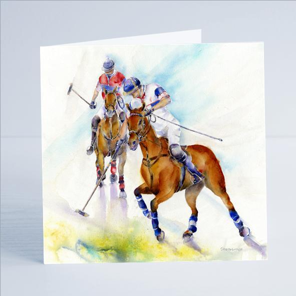 Horse - Polo Game - Card-Sheila Gill Fine Art