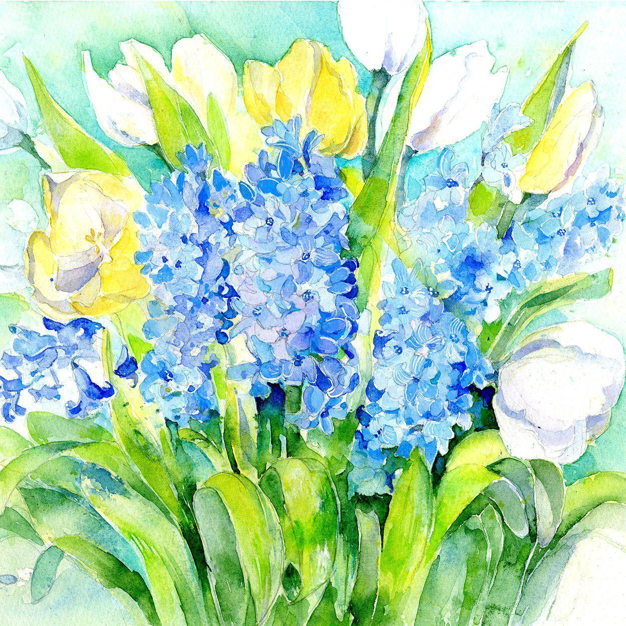 Hyacinth & Tulip Flower Card-Sheila Gill Fine Art