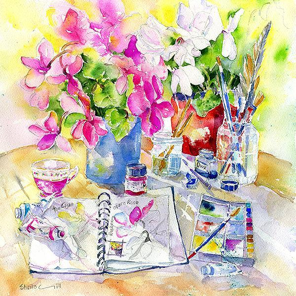 Painting Flowers Card-Sheila Gill Fine Art