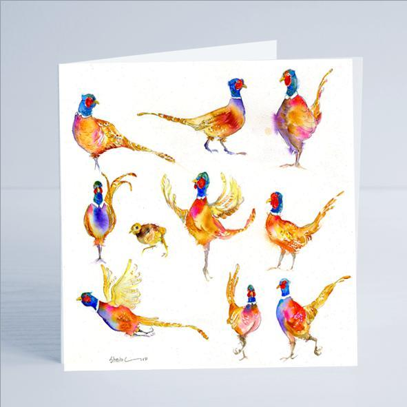 Pheasants Bird Card-Sheila Gill Fine Art