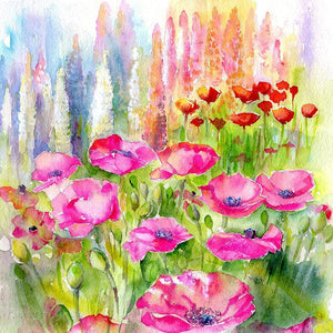 Pink Poppies Flower Card-Sheila Gill Fine Art