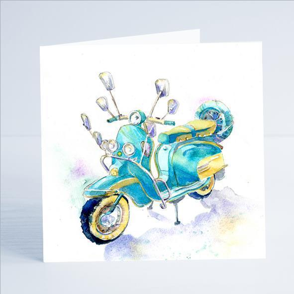 Scooter Happy Days - Card-Sheila Gill Fine Art