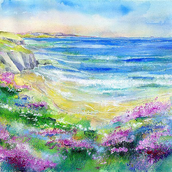Seashore Thrift - Card-Sheila Gill Fine Art