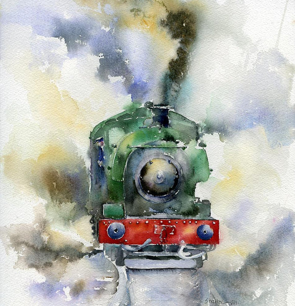 Steam train - Card-Sheila Gill Fine Art