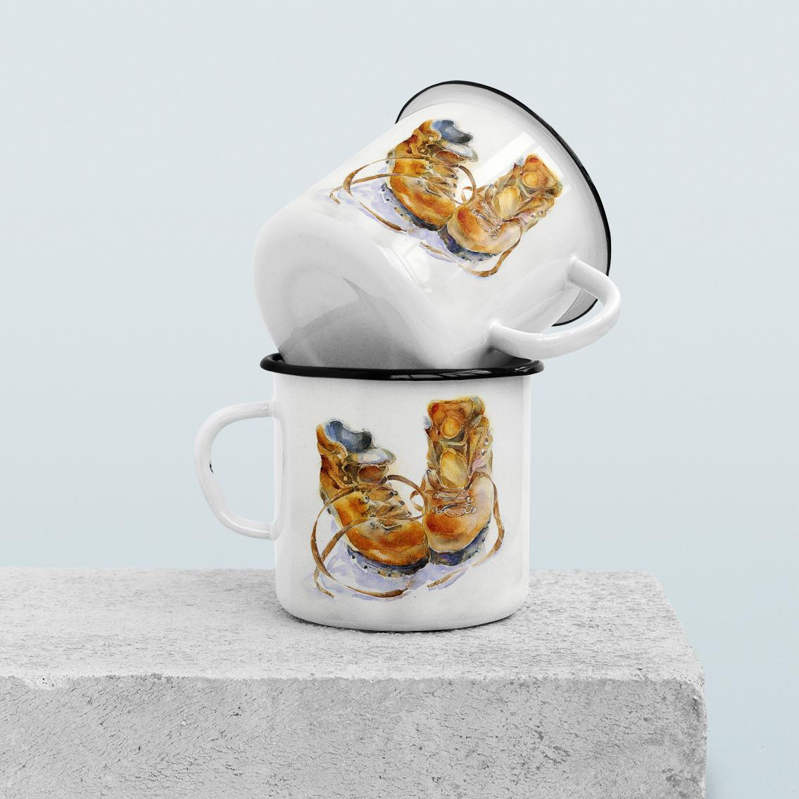 Walking Boots -  Enamel Mug