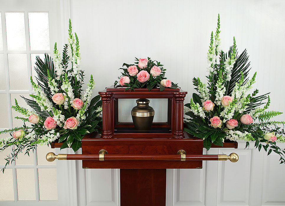 Pink and White Funeral Urn Flowers