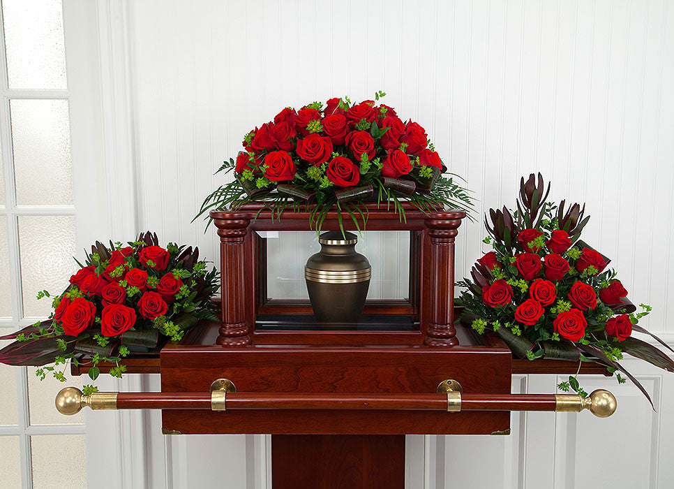 Red Roses for a Funeral Urn