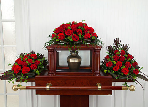 Red Rose Funeral Urn Set