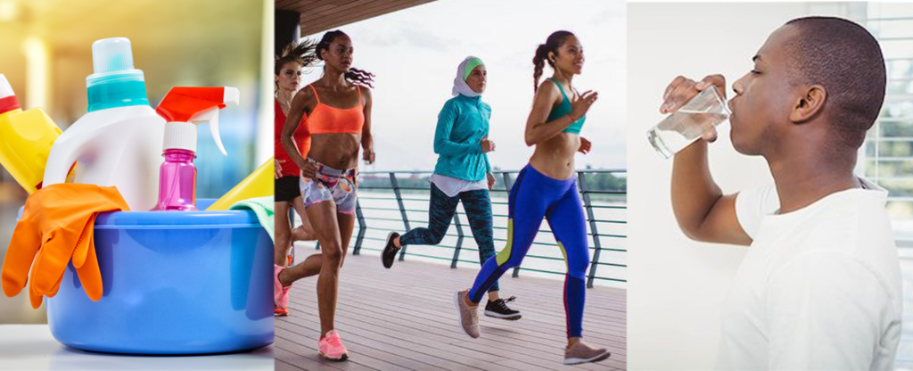 exercise sweat drink water and choose healthy cleaners for detoxification