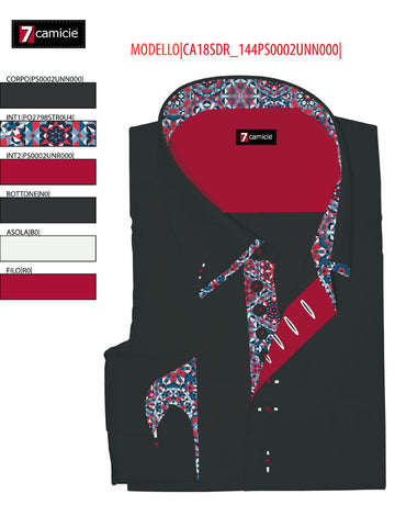 Men's Black Shirt with Multicolour Double Collar