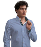 Men's Light Blue Single Collar Shirt with Dark Trim