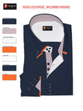 Men's navy blue shirt with orange double collar 7c image