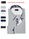 Men's light grey double collar paisley trim 7camicie shot