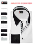 Men's White Shirt with Black Double Collar