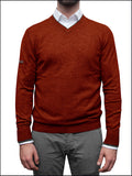 Men's terracotta red v neck jumper