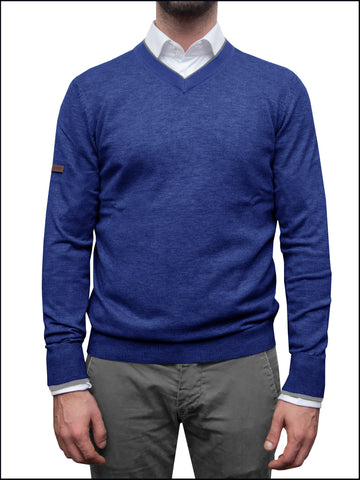 Men's Blue V Neck Jumper